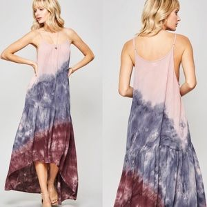 sewchicboutique Dresses - Tie Dye Maxi High Lo Ruffle Bottom